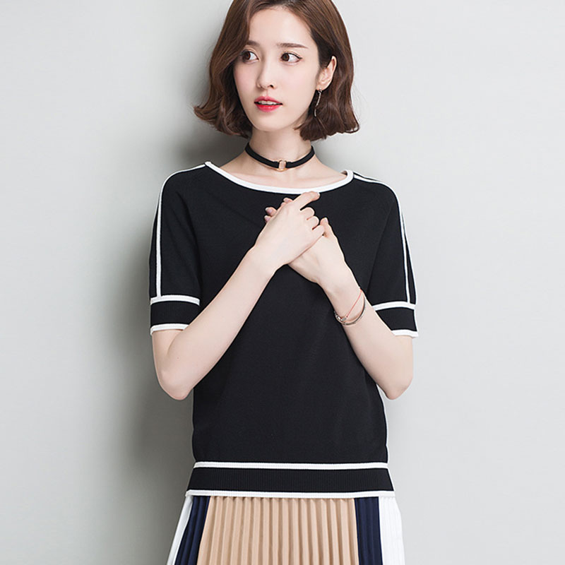 HSPL Summer Women  Pullover White Tops Short Sleeve Casual New Arrival 2019 Korea Lady Pull Femme Hiver Black Knitwear(China)