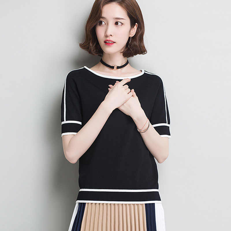 HSPL Summer Women  Pullover White Tops Short Sleeve Casual New Arrival 2019 Korea Lady Pull Femme Hiver Black Knitwear