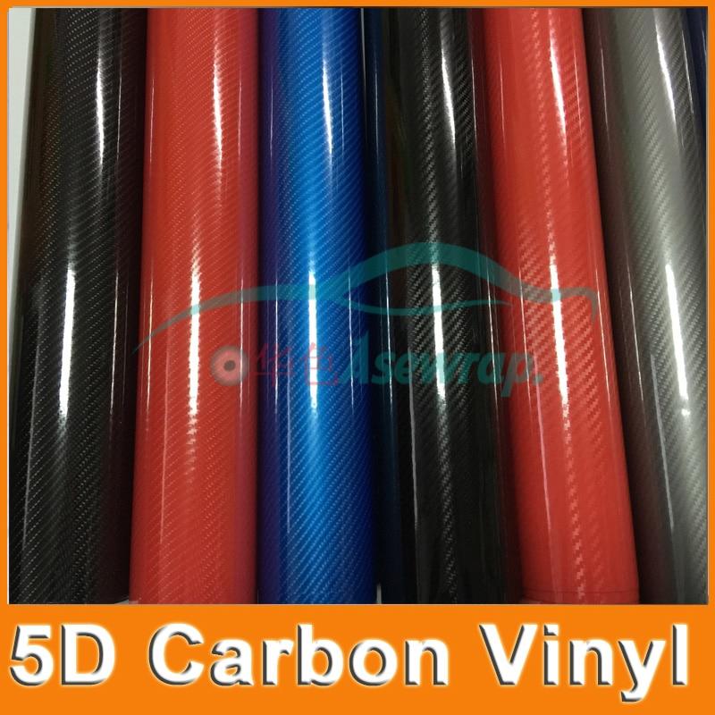 10/20/30x152 CM Süper Parlak 5D Karbon fiber vinil hava kabarcıkları ile 5D filmi araba sticker Araba sarma için