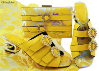 Ladies Shoes With Matching Bags Set Beautiful Yellow Flower Decorated With Crystal Nigerian Shoes and Matching Bag 38 43 B87 13