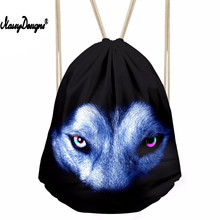 Men's Casual Drawstring Bag Animal Wolf Eyes Print Daypack Teenager Mini Beach Pouch for Kids Travel Gift Bolsos