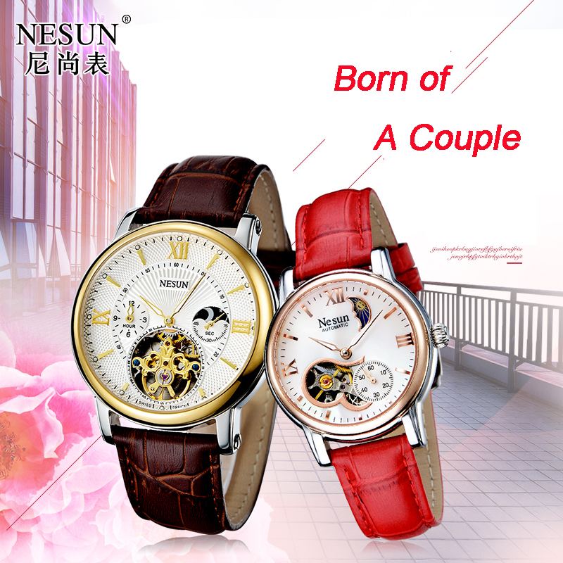 Suisse Nesun creux Tourbillon montre hommes & femmes marque de luxe automatique mécanique amoureux montres saphir horloge 9091-L