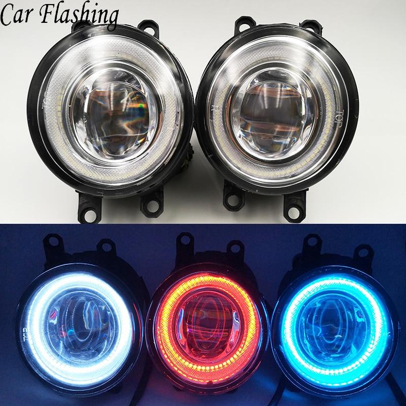 Car Flashing 1 Pair Led Angel Eyes Fog Lights Lamp Assembly DRL For Toyota Corolla Avensis