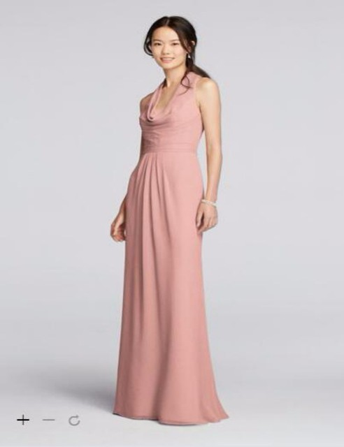 86a3f30330 2016 long Chiffon Bridesmaid Dresses With a softly draped cowl neck in  front and a keyhole