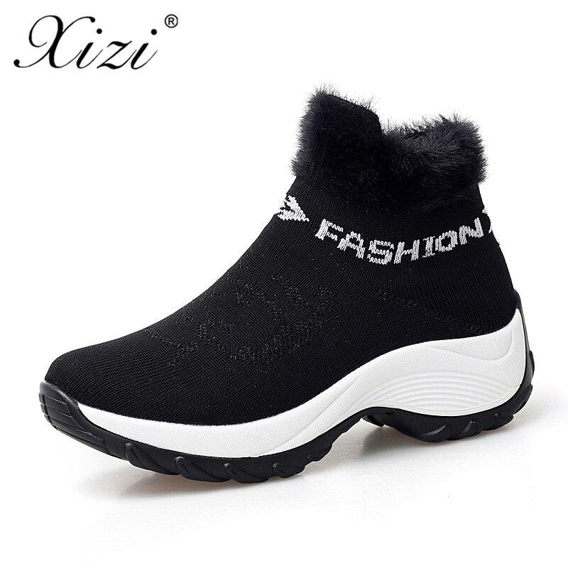 rouge D'hiver Push Chaussures Haute Wedge bleu blanc Zapatos Femme Bottes Chaud Noir Femmes Cheville Xizi De 2018 Mujer Neige hrxtdsQC