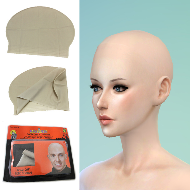 Dapat Digunakan Kembali Palsu Lucu Lateks Kulit Kepala Botak Kepala  Skinhead Wig Topi Pria Wanita Unisex d8bb7226ed
