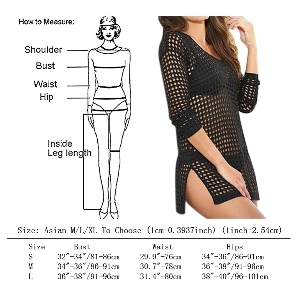 beach cover up Brand New Summer Women Sexy Mesh Knitted Crochet Swimsuit Dress Bikini Wrap Bathing Suit Cover Ups 5