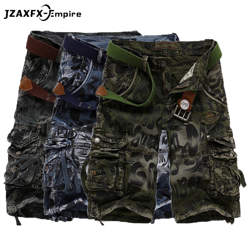 Men Fashion Camouflage Cargo Shorts Summer Male Loose Cotton Work Shorts Military Printing Short Pants