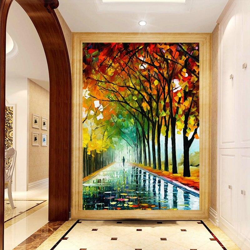 Custom 3D Hallway Mural Entranceway Abstract Tree