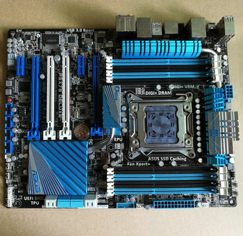 Original P9X79 DELUXE X79 motherboard 2011 pin support 3930K 3960X with baffle used 90%new