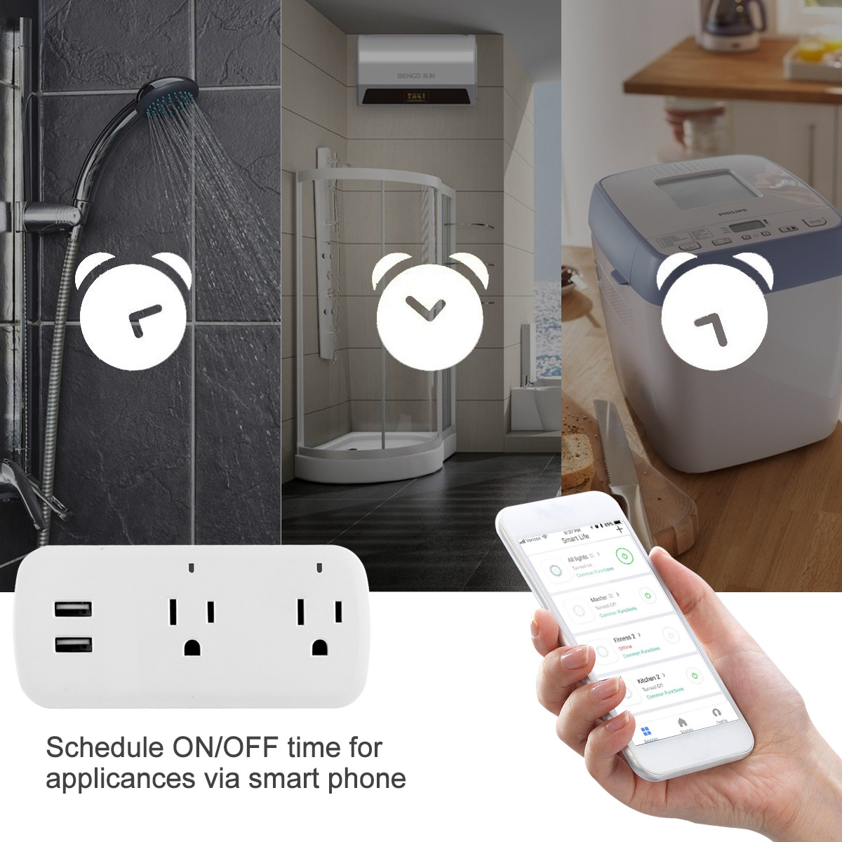Image 2 - Smart Plug Wifi Smart Socket Remote Voice control 2 USB port  socket  Tuya Smart Life App US Plug Alexa Google Home Mini IFTTT-in Mobile Phone Chargers from Cellphones & Telecommunications