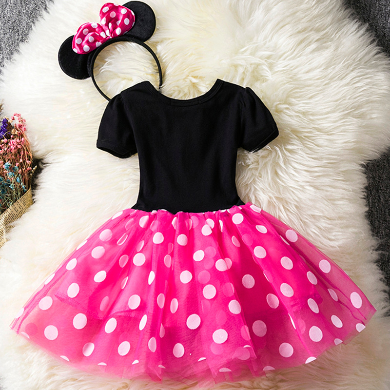 U-SWEAR 2019 New Arrival Lovely Kid   Flower     Girl     Dress   Short Sleeve O-Neck Pink Chiffon Dot Print Ball Gown   Girls   Pageant   Dress