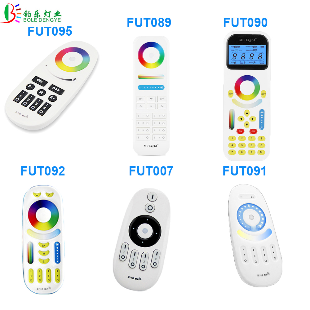Mi Light 2.4G RGBW Touch Remote CCT Control RF 4 Zones Full Color RGBW RGB Dual White For LED Strip Downlight Bulb mi light 2 4g 1pcs lot 12w led downlight remote rf control wireless bulb lamp white warm white down light 85 265v