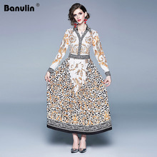 Banulin 2019 Summer Women V-Collar Long Sleeve Vintage Leopard Print Single Breasted Dresses Fashion Designer Runway Maxi Dress