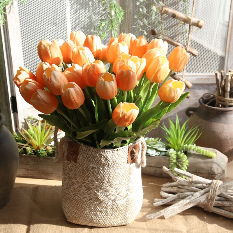 Artificial Tulip Flower Tulip Real Touch Flower For Wedding Home Hotel Party Holiday Gift Living Room Floral Arrangement
