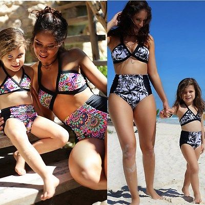 2017 New Mother and Daughter Family Match Swimsuit Sexy Women Floral High Waist Bikini Set Toddler Kids Girls Bathing Suit 2pcs