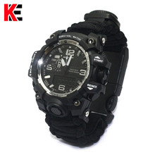 EDC Survival Watch Outdoor Camping Multi-functional Compass Thermometer Rescue Rope Paracord Bracelet Equipment Tools kit