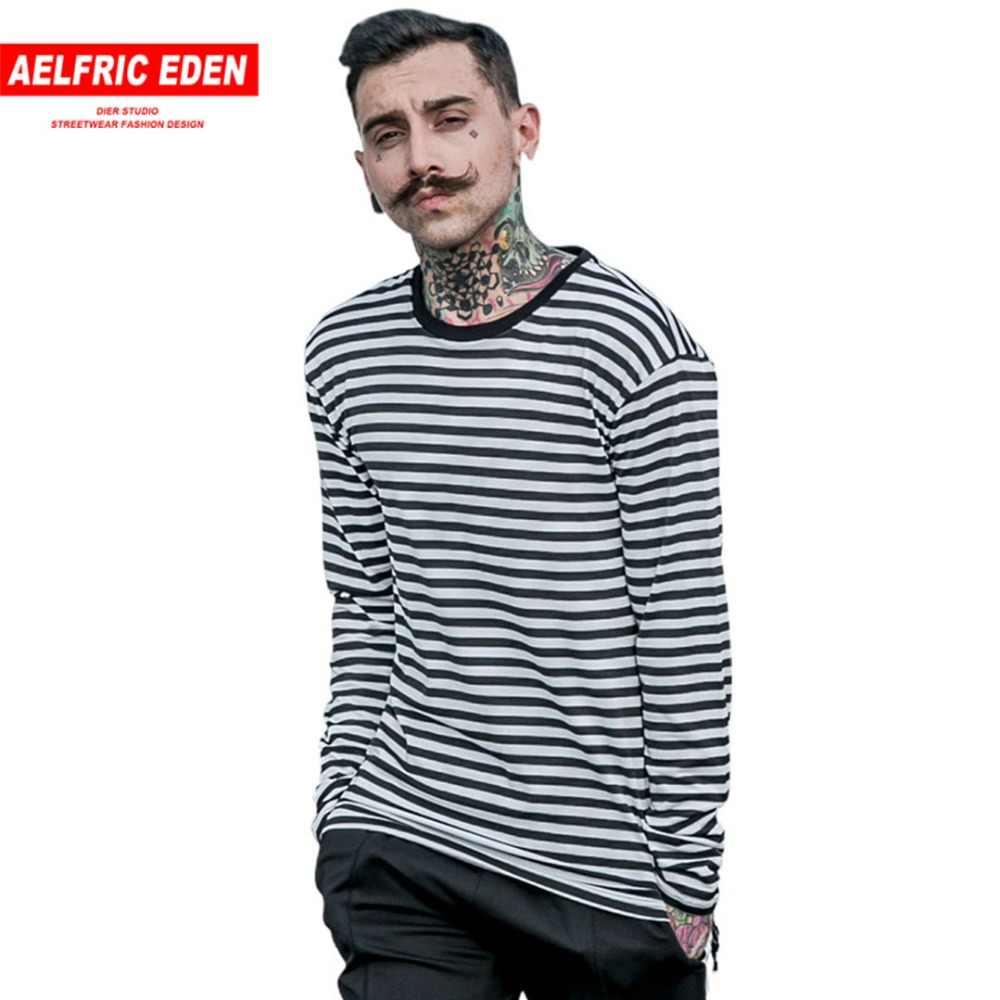 Aelfric Eden Korea Stijl Lente Nieuwe gestreepte T-shirt Casual Heren Gestreepte Lange Mouw T-shirt mannen Mode Zwart Wit t-shirt
