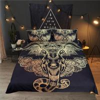 African Tribal Elephant Bedding Set Boho Mandala Golden Design Ethnic Indian God Ganesha Duvet Cover Indian Symbol Bed Set