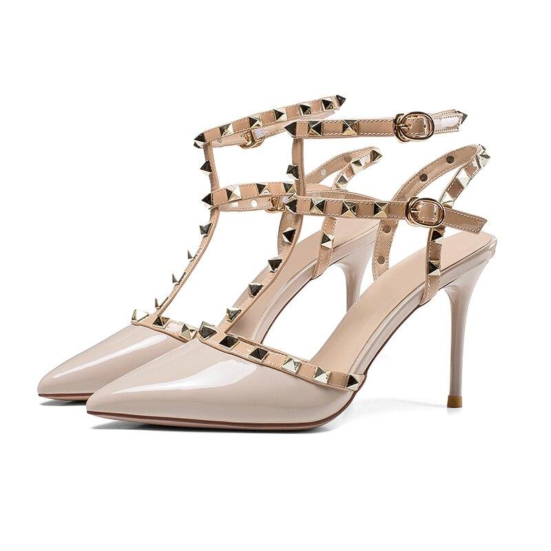 Sandales Soirée Sapatos Femmes Clouté Sexy Nouveautés Kaki 2018 Punk Gladiateur Rivets De Foncé Chaussures Boucle À Souliers Hauts Valentine Talons kaki 1XzEwPWwTq