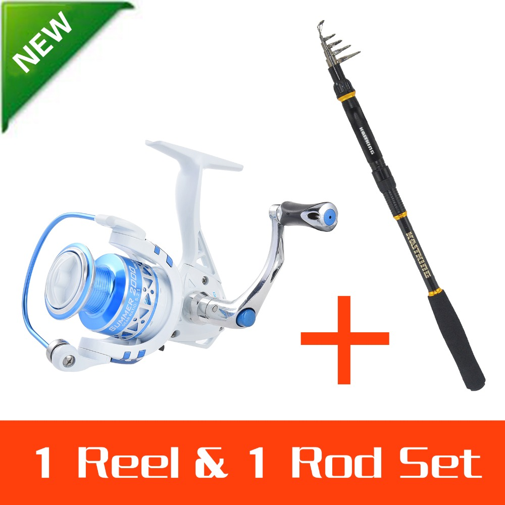 KastKing 99% Carbon Fiber 1.8-3.6M Super Hard Telescopic Fishing Rod Carbon Spinning Pole+2000series Spinning Fishing Reel Combo