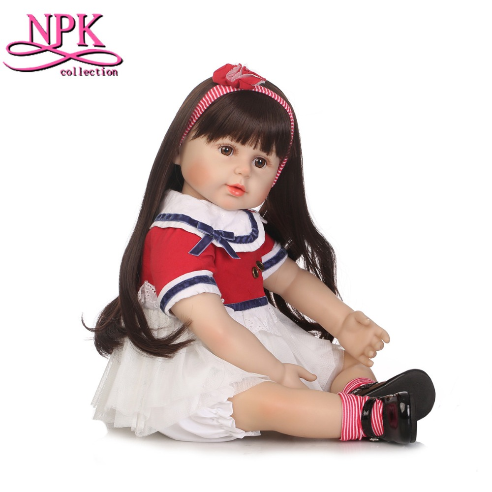 NPKCOLLECTION 60cm Silicone Vinyl Reborn Baby Doll Toys Girls Brinquedos Lifelike Princess Play House Baby Dolls Christmas Gifts 50cm silicone reborn baby doll toys lifelike vinyl princess dolls lovely birthday gift collectable doll girls brinquedos