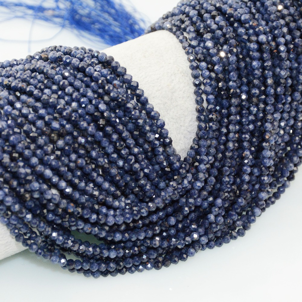 GENUINSTONE Natural Sapphire Faceted Round Beads 2mm 3mm