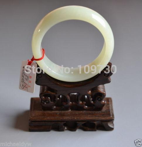 Тонкий старый Сертифицированный китайский белый нефрит Celadon браслет из натурального камня 60 мм