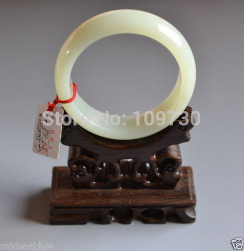 Fine Old Certified Chinese Hetian Nephrite Celadon stone Bracelet Bangle 60mm