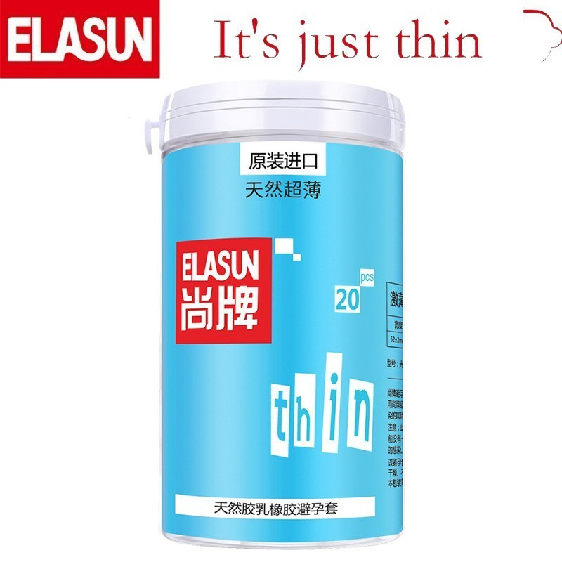 ELASUN 20 PCS Natural Super Thin Lubrication Type Bottled Condoms Natural Latex Rubber Condom for Men