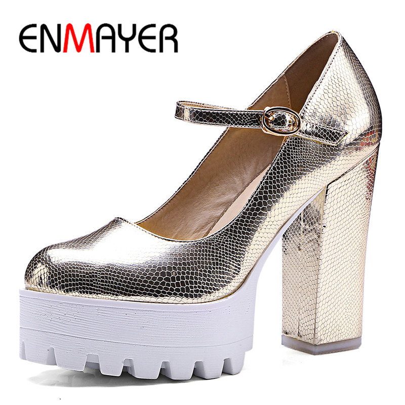 ФОТО ENMAYER Buckle Strap Round Toe Shoes Woman Supper High Heels Golden Shoes Plus Size 34-42 Platform Shoes Party Pumps in Women's