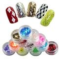 2017 New Design 12 Colors Nail Art Decorations Rhombus Paillette Glitter Nails Glitter 3D Slice Powder Set Finger Design