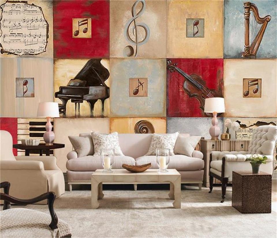 100% Kwaliteit 3d Behang Foto Behang Custom Muurschildering Woonkamer Schoonheid Play Piano 3d Olieverf Sofa Tv Achtergrond Muursticker Muurschilderingen