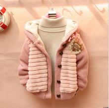 2015 children clothing Bow Coat kids clothes girls Boys knit winter plus thick velvet fur coates bobo choses winter