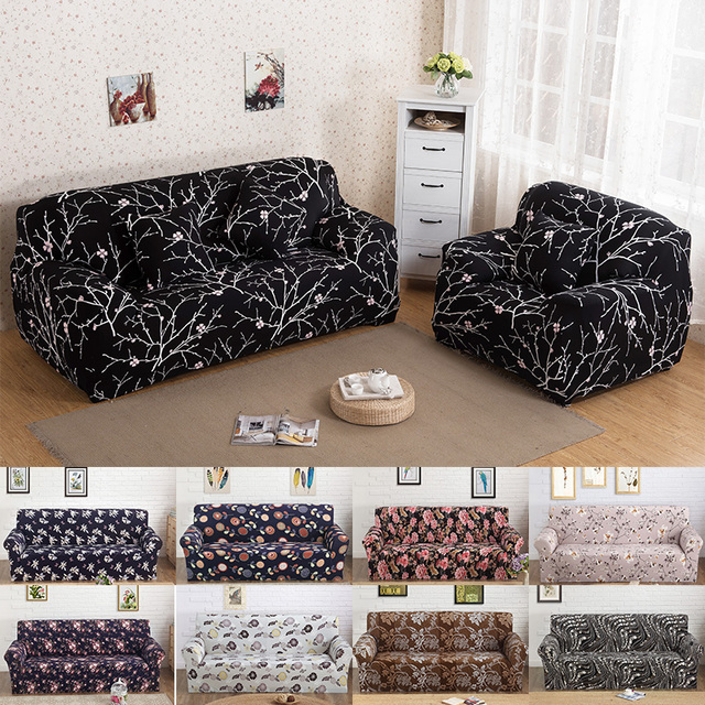 Black Printed Spandex Stretch Sofa Cover Slipcovers Furniture ...