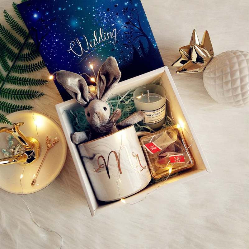 1set birthday gifts Wedding favor and gift bridesmaid groomsman scented candles Ceramic cup gift box rabbit wedding return gifts