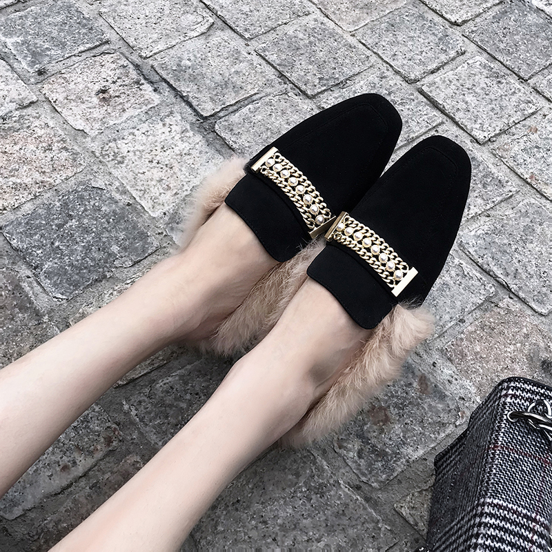grey Appartements Femmes Femme Marque Botas Chaussures Célèbre 2 Femlae pink 1 Chaud Mules Bout De Carré Asileto 1 Fourrure Black black B767 D'hiver 2 2 pink EUIqx