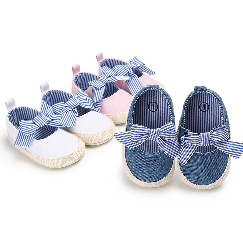 New Baby Girls Princess Shoes Infant Toddler Crib Bebe Kids First Walkers Mary Jane Striped Big Bow Soft Soled Anti-Slip Dress