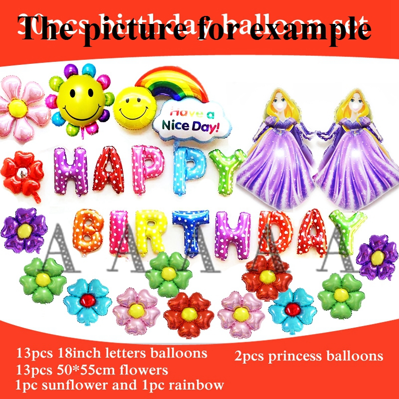 30pcs foil balloon cartoon princess Rapunzel balloon happy birthday balloons set