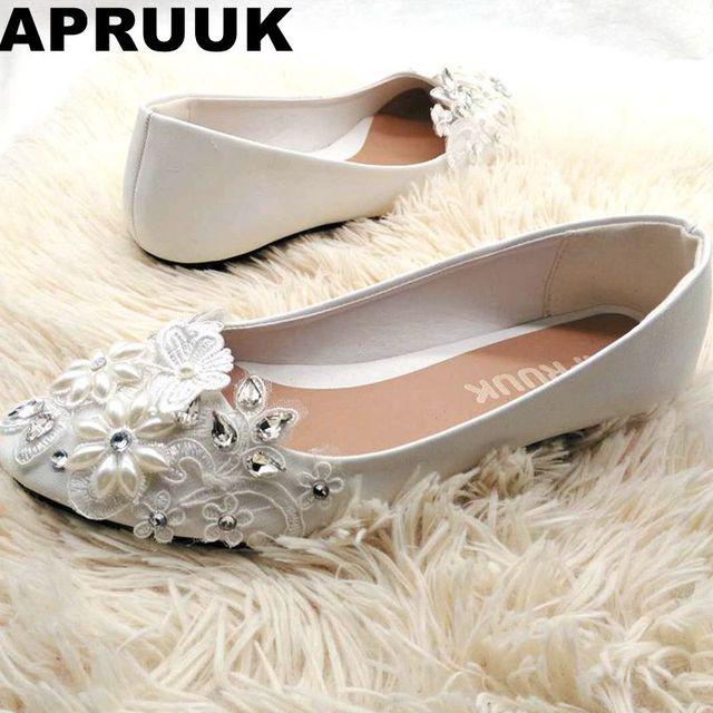 Ballet Flats White Pearl Lace Wedding Shoes Woman Flat Heel Casual Sweet Handmade Bridemaid