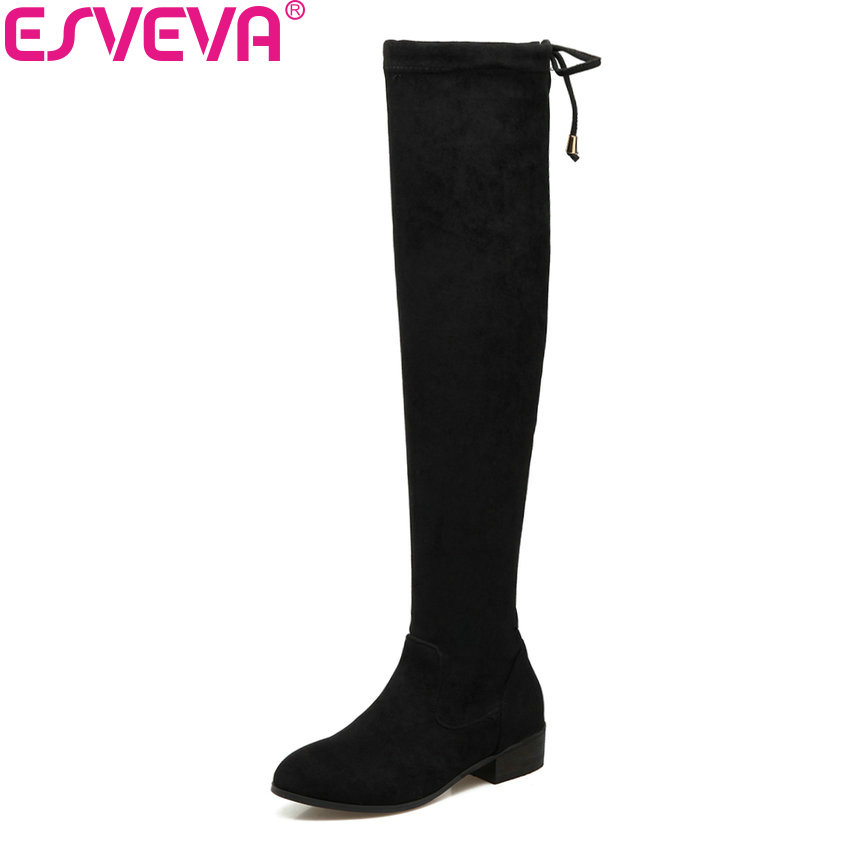 ESVEVA 2018 Women Boots Warm Fur Slim Look Square Low Heel Over The Knee Boots Sexy Pointed Tow Ladies Long Boots Size 34-43 esveva 2018 women boots lining short plush chunky square high heel ankle boots slim look pointed toe ladies boots size 34 43