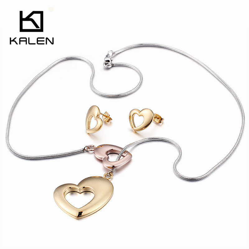 Kalen Lima Peru Jewelry Stainless Steel Rose Gold Color 2pcs Hollow Love Heart Necklace & Earrings For Women Wedding Jewelry Set Fashionable(In) Style;