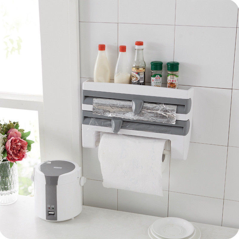 New Arrival Triple Roll Paper Dispenser Cling Film Tin Foil Towel Holder Rack Wall Mounted