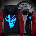 New BLEACH Hoodie Hip Hop Coat Luminous Jacket Hiphop Casual Winter Thick Zipper Warm Sweatshirt Men