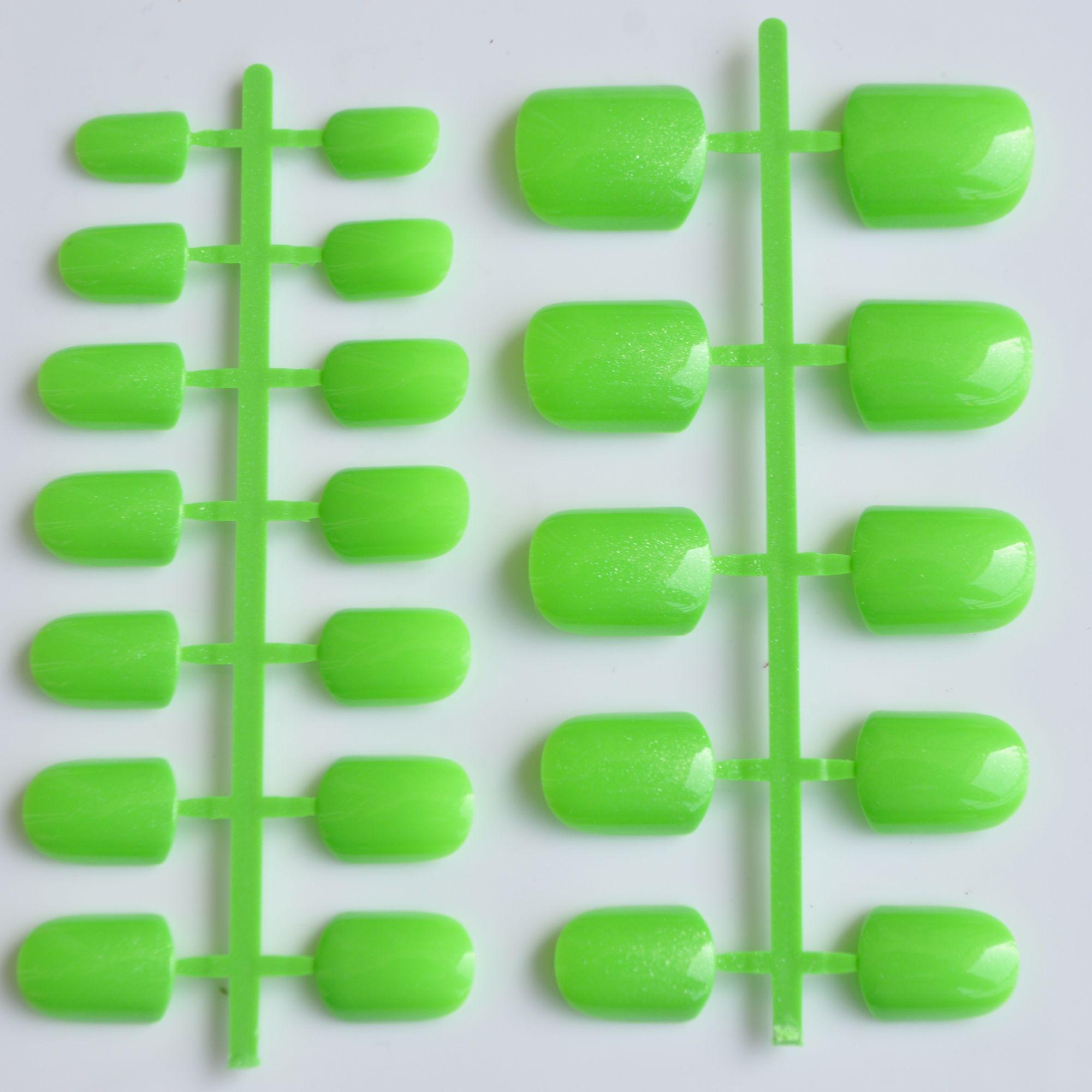 Agua Verde falso Clavos caramelo Square natural nail señora falso ...