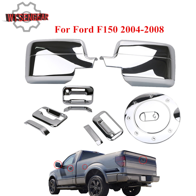 Wisengear Chrome  Door Handle Wing Mirror Cover Tailgate Cover Tank Gas Cap For Ford F   Rc