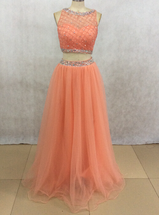 Real Image Coral Color Evening Dresses 2 pieces evening formal ...