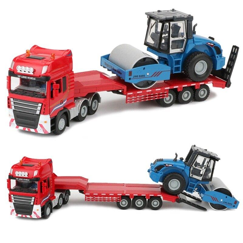 JINGBANG 1:50 сплав трейлер Игрушечная модель грузовика экскаватор дорожный каток бульдозер грузовик строительная машина набор игрушек для дете