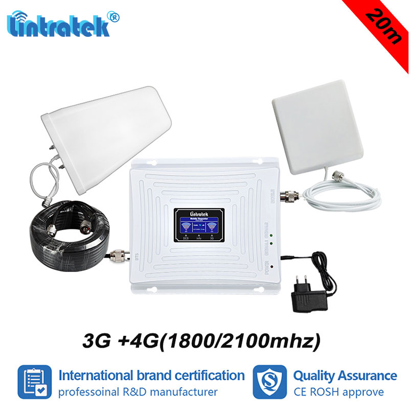 Lintratek NEW 2G 3G 4G 1800 2100 Double Band Signal Booster 70dB Gain WCDMA 2100mhz LTE DCS 1800mhz Repeater Amplifier+20m #6+1Lintratek NEW 2G 3G 4G 1800 2100 Double Band Signal Booster 70dB Gain WCDMA 2100mhz LTE DCS 1800mhz Repeater Amplifier+20m #6+1