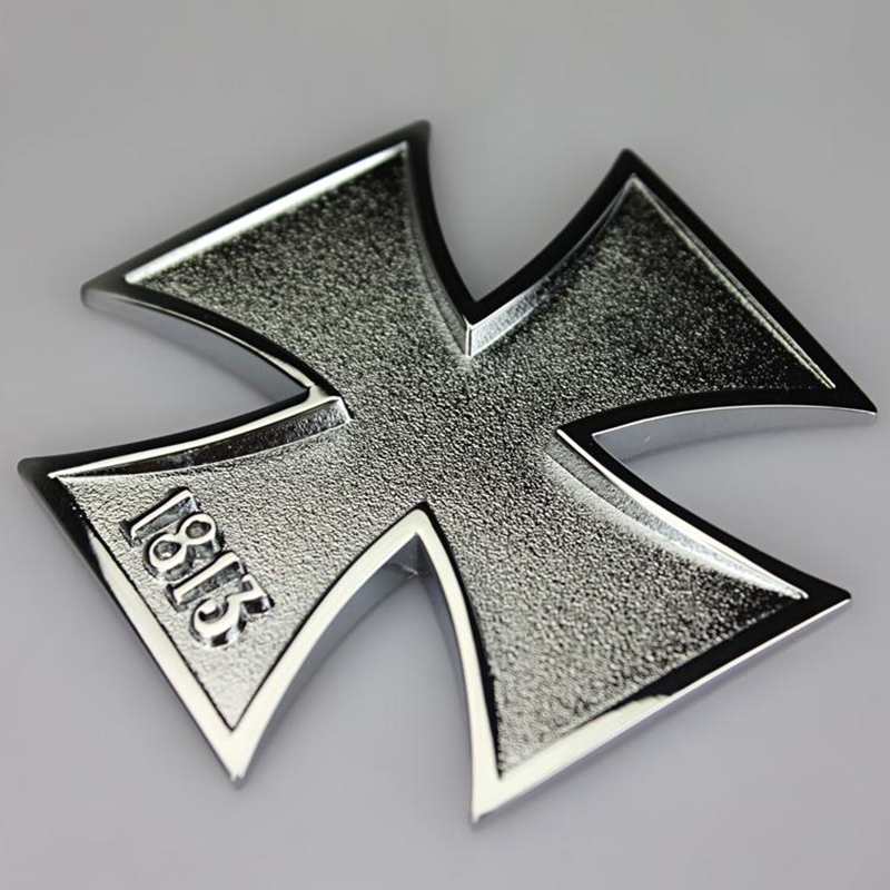 1813 Frost and Glossy and Malta Virtue Symbol Medal Cross Chrome Metal Car Styling Emblem Badge Sticker Auto Fashion Decor Logo